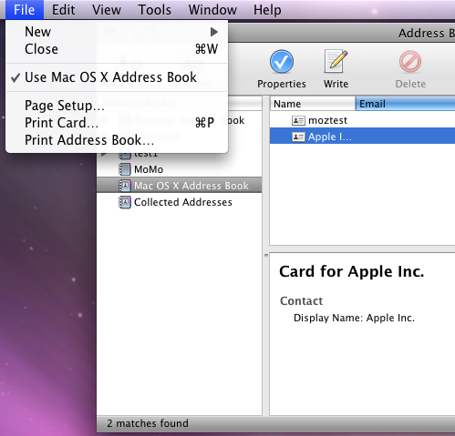 Use Mac OS X Address Book
